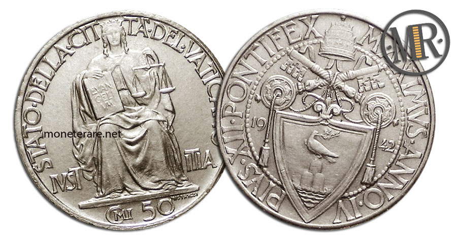 50 Centesimi Vaticano Papa Pio XII 2 tipo