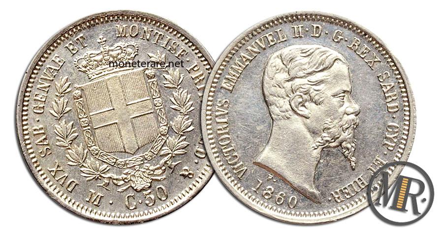 50 Centesimi Lire Vittorio Emanuele II 1860