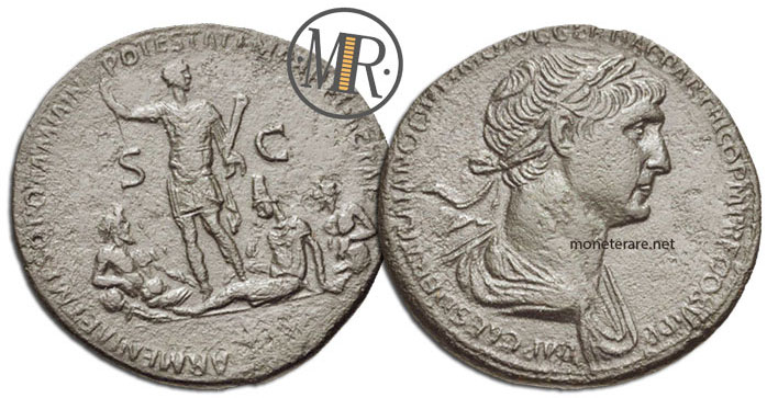 Sesterzio Traiano Tigri Eufrate e Armenia