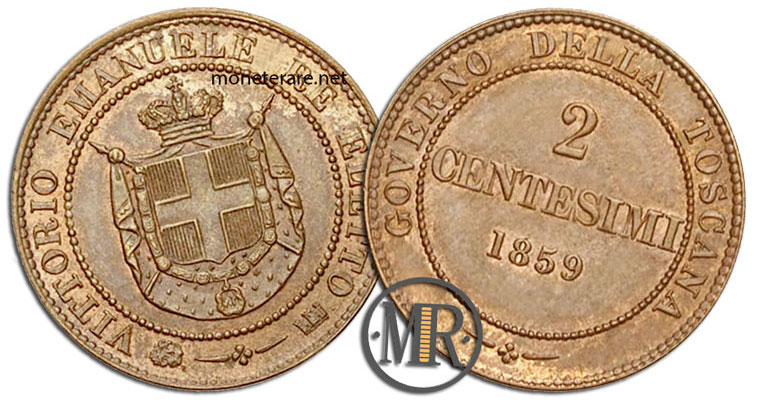 2 Centesimi di Lire Governo provvisorio della Toscana 1859