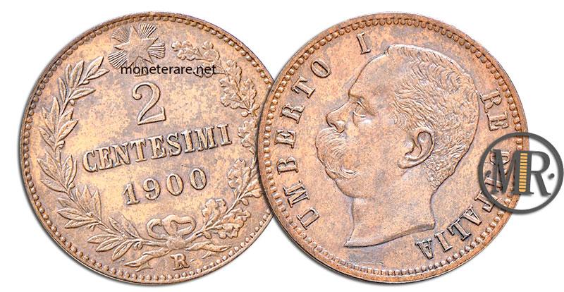 2 Centesimi di Lire Umberto I senza la S 1900