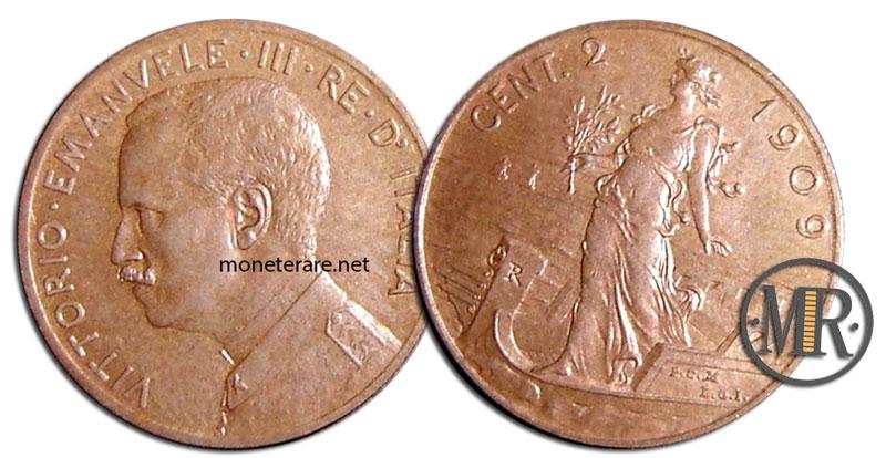2 Centesimi di lire Vittorio Emanuele III Prora 1909
