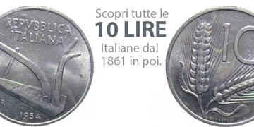 valore delle monete da 10 lire italiane e catalogo