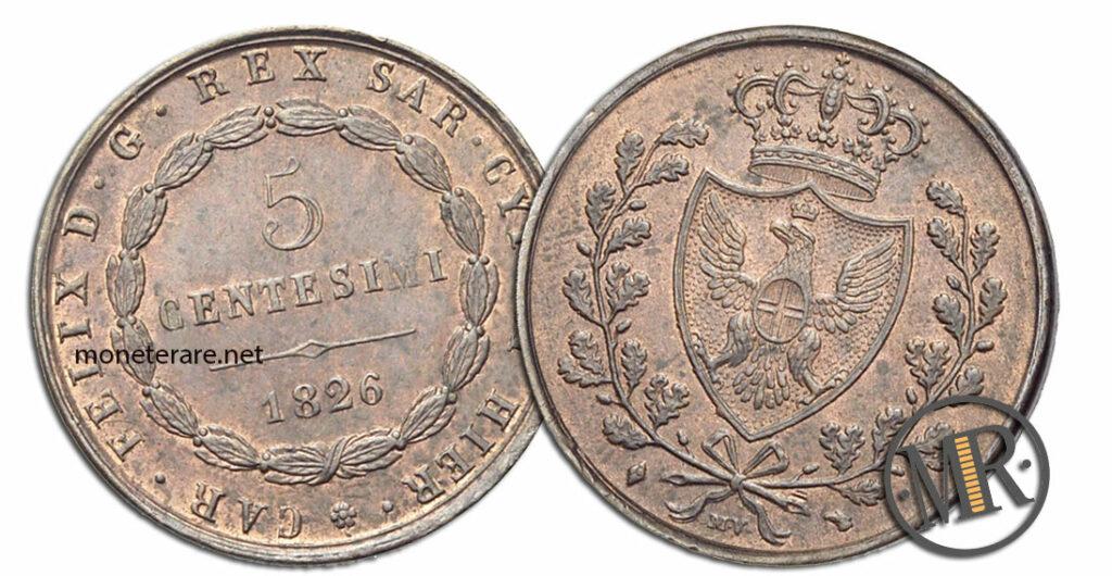 5 Centesimi Carlo Felice - valore delle lire rare
