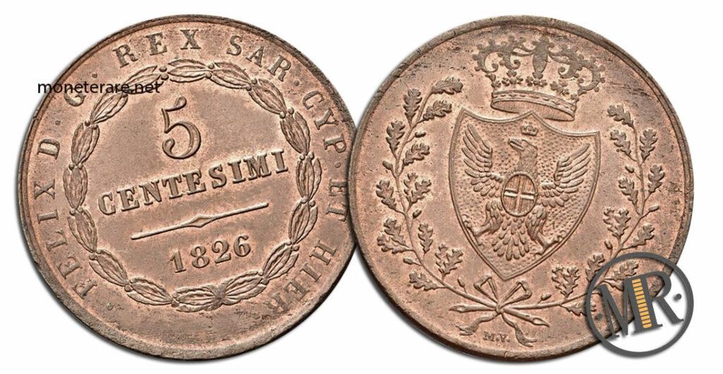 5 Centesimi Vittorio Emanuele II 1826 Governo provvisorio Bologna valore