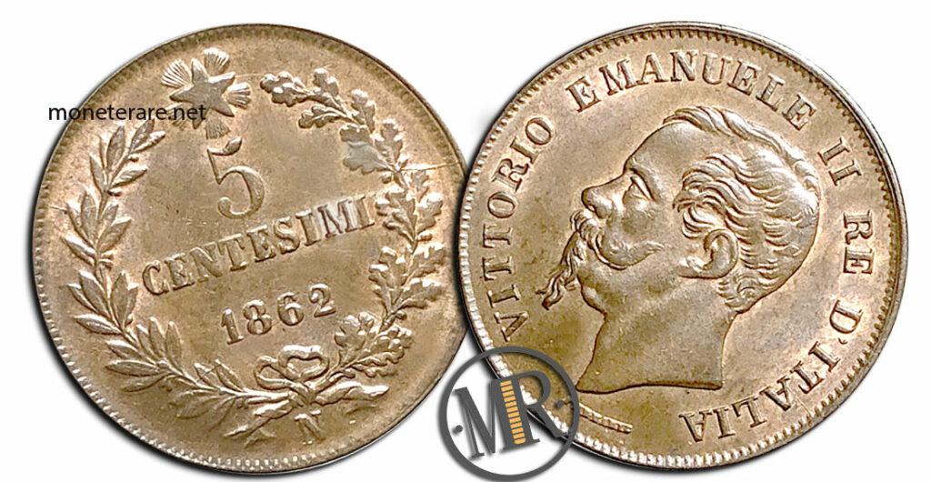 5 Centesimi Vittorio Emanuele II Re di Italia - valore della moneta rara