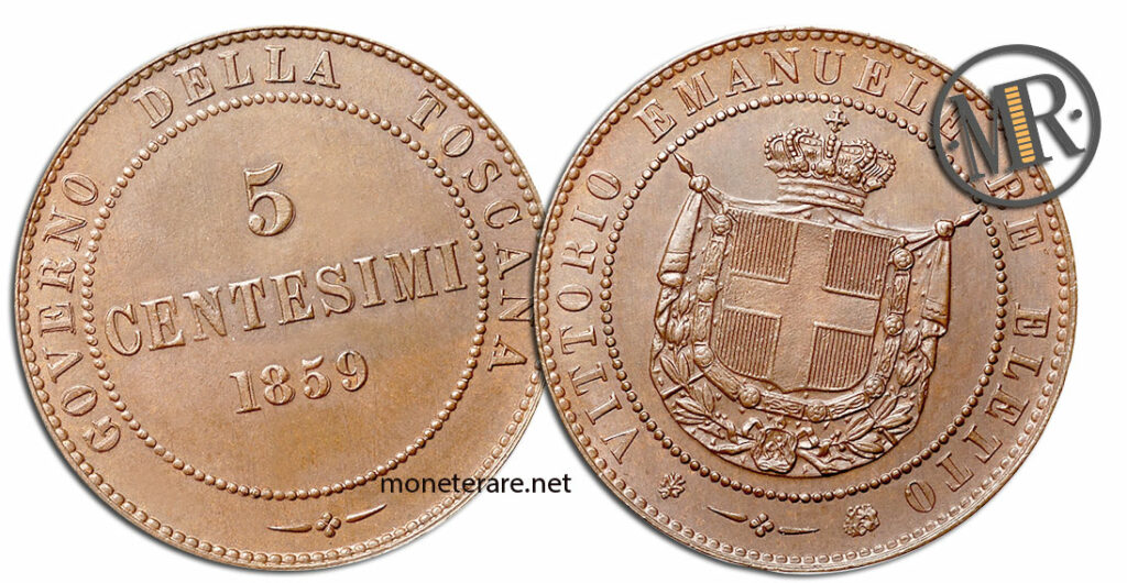 5 Centesimi Vittorio Emanuele III Governo della Toscana valore
