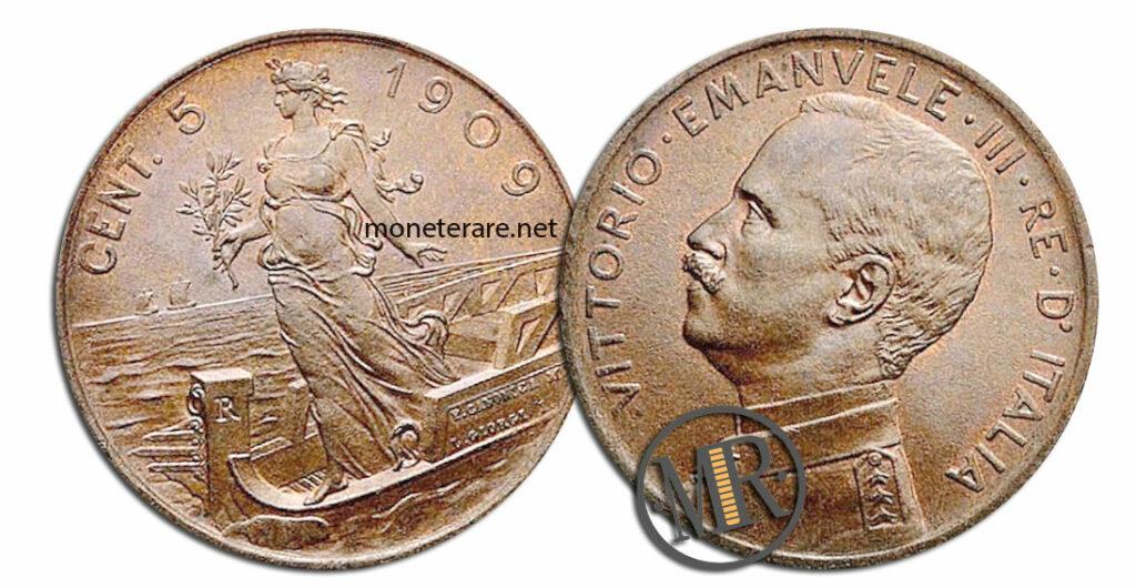 5 Centesimi Vittorio Emanuele III Italia su Prora - valore della moneta rara
