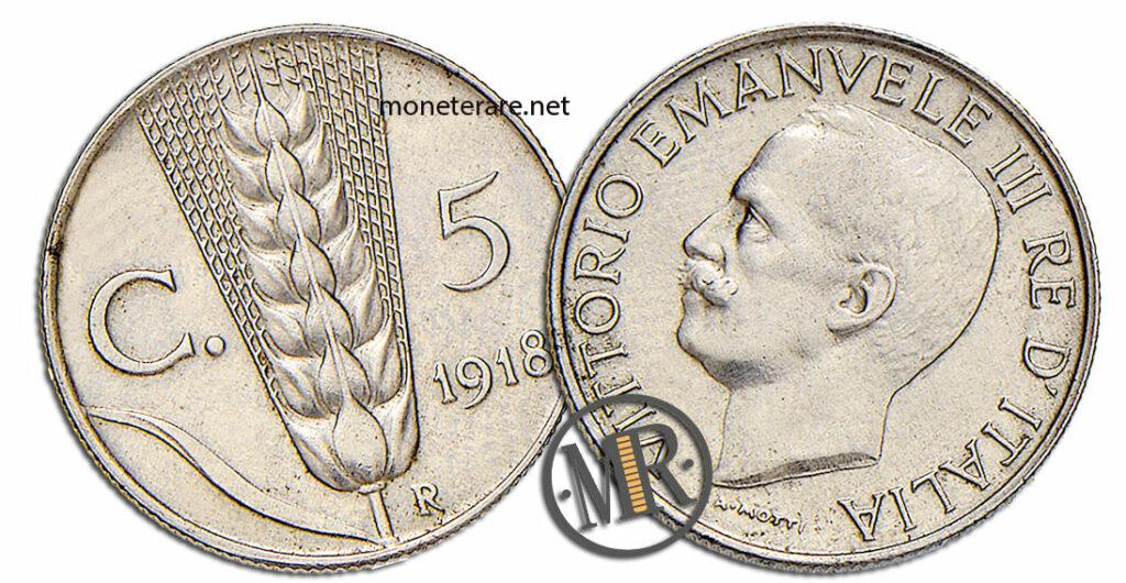 5 centesimi Vittorio Emanuele III Spiga Primo Tipo - valore della moneta rara