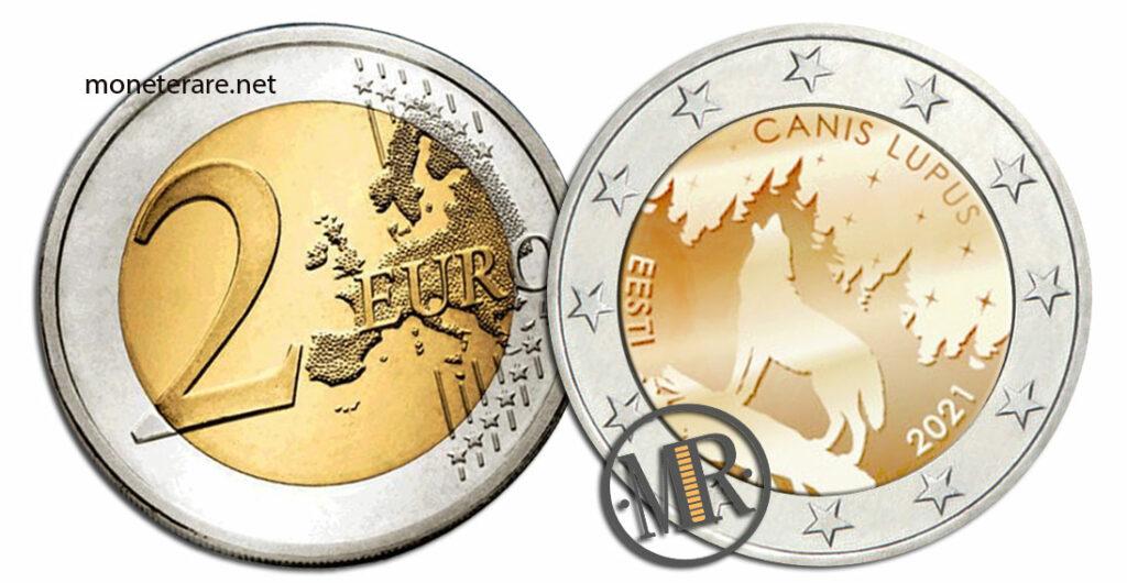 2 Euro Commemorativi Estonia 2021 Lupo
