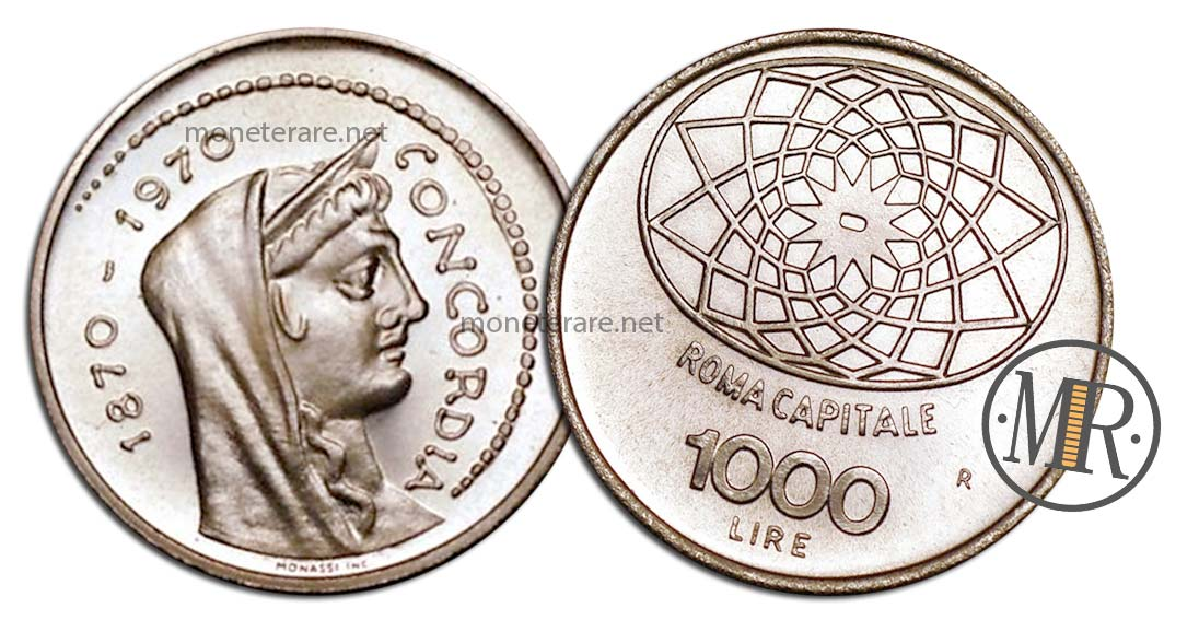 1000 Lire Roma Capitale Argento