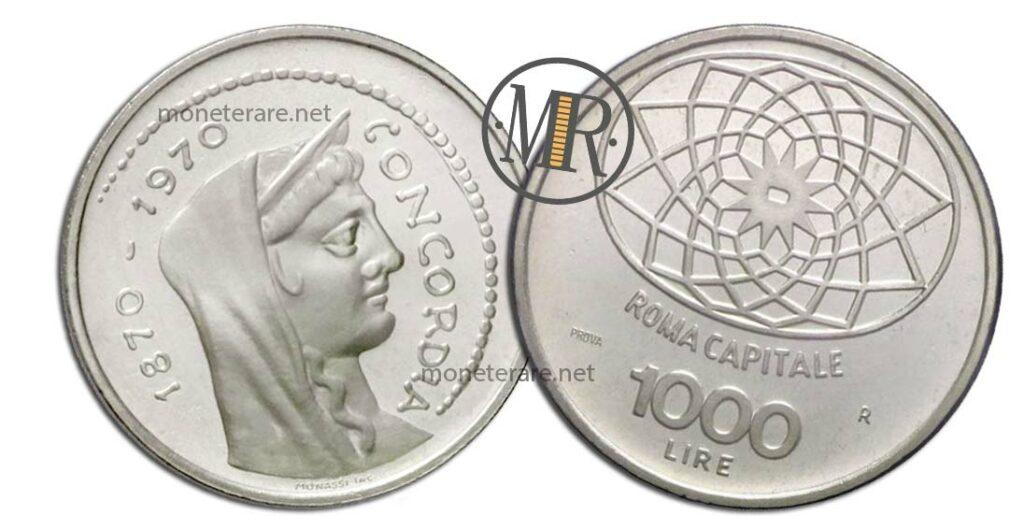 1000 Lire Roma Capitale PROVA Argento