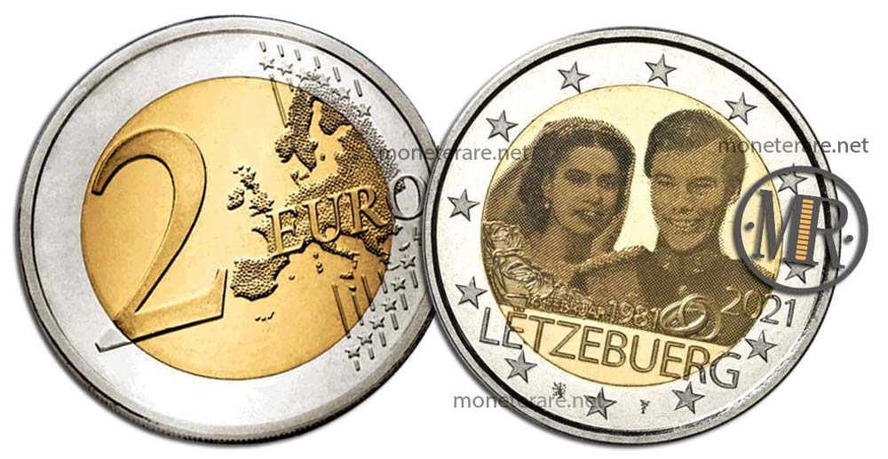 2 Euro Commemorative Luxembourg 2021 Wedding Anniversary - 14 February 1981 - Hologram