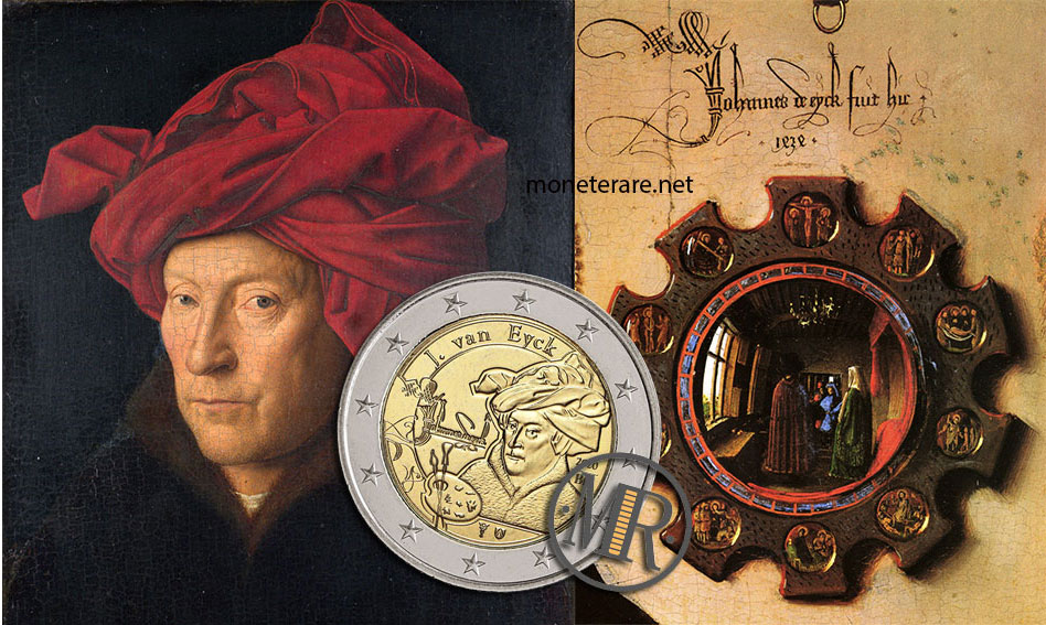 Jan van Eyck Portrait of a Man with Red Turban and Mirror Mr and Mrs Arnolfini