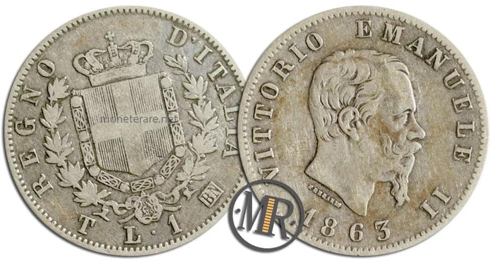 1 Lira Coin Stemma Torino 1863
