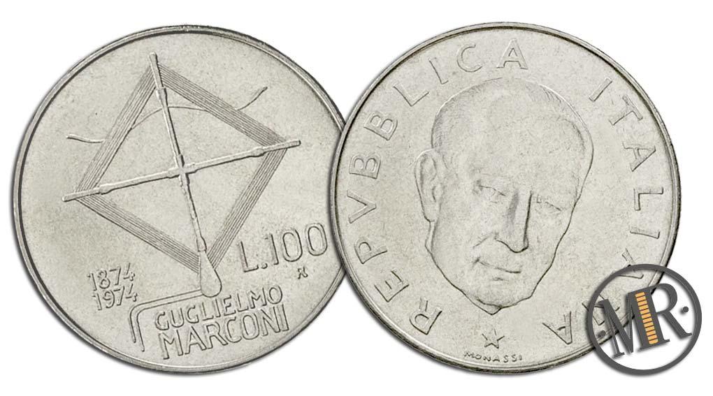 100 Lire Guglielmo Marconi 1974