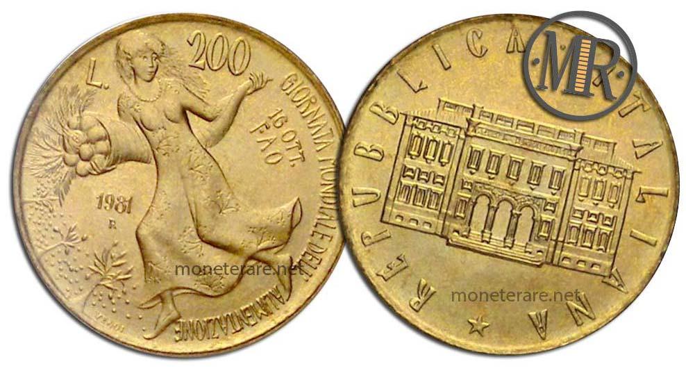 200 lire 1981 Alimentazione