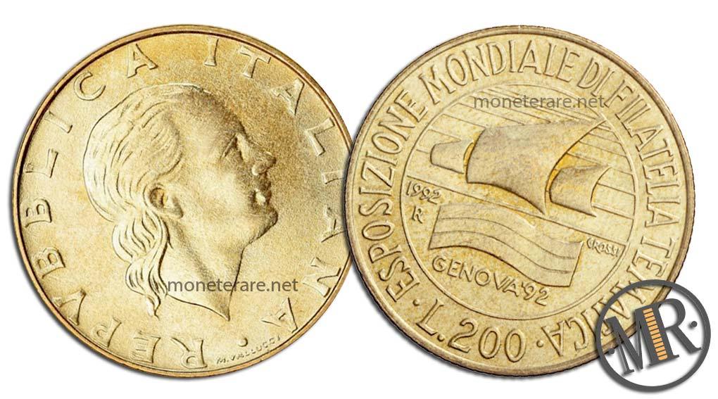 200 lire 1992 Filatelia