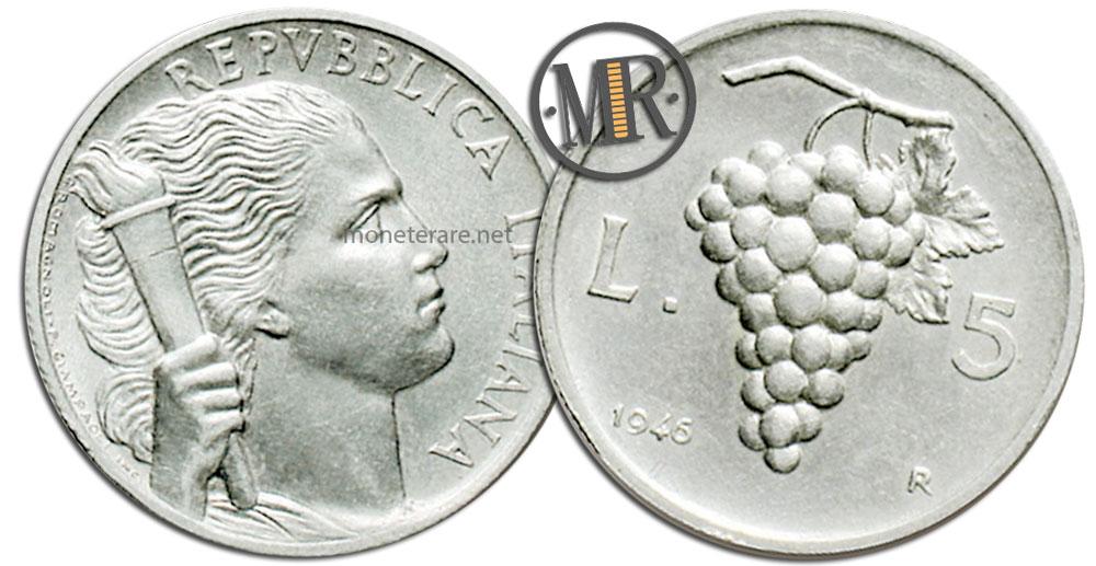 """5 Lire Coins Repubblica Italiana Uva, 5 lire 1950 """"Grapes"""""""