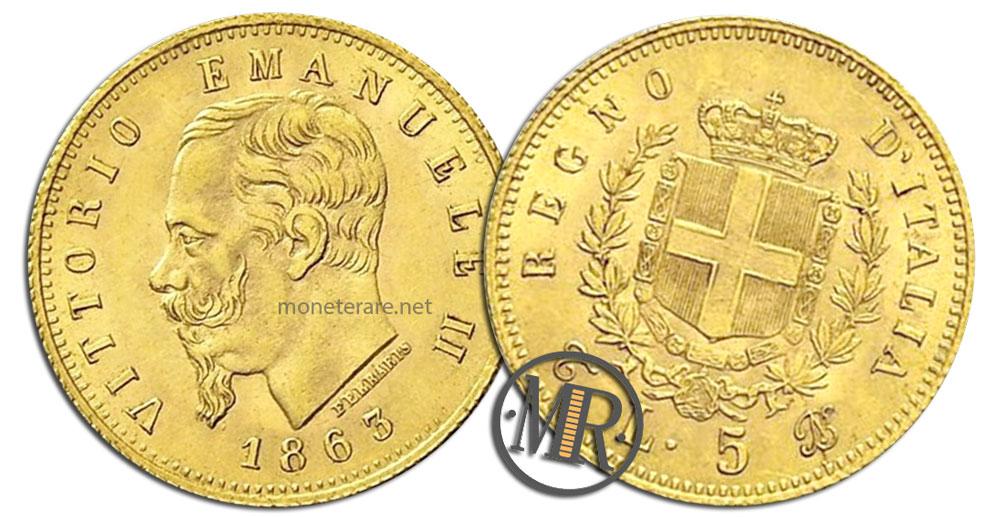 5 Lire Coins Vittorio Emanuele II Stemma ORO