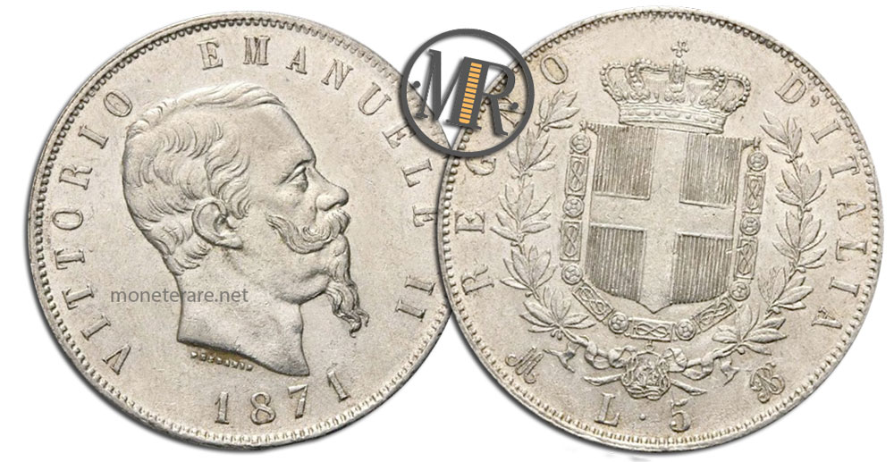 5 Lire Vittorio Emanuele II Stemma coin