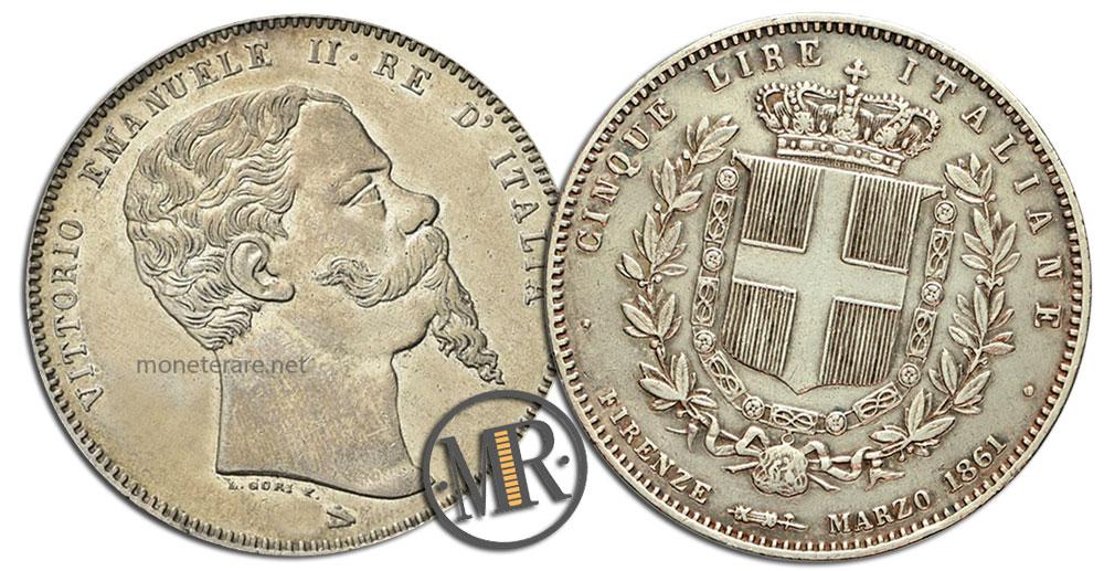 5 Lire Vittorio Emanuele II Unità d'Italia coin