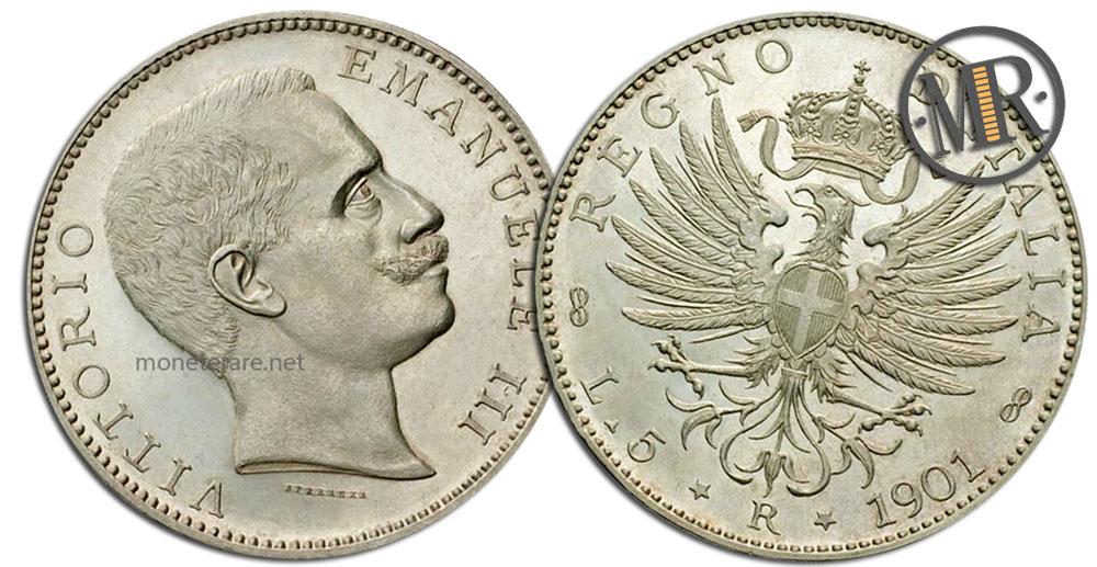 5 Lire Coins Vittorio Emanuele III Aquila Sabauda