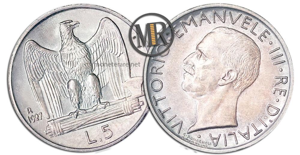 5 Lire Coins Vittorio Emanuele III Aquilotto