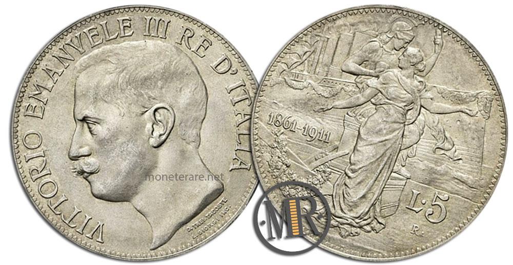 5 Lire Coins Vittorio Emanuele III Cinquantenario 1911