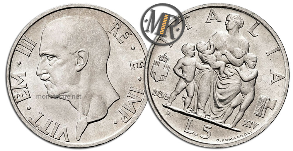 5 Lire Coins Vittorio Emanuele III Italia Feconda